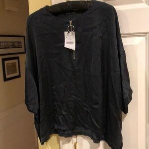 Zara Top.  Size Large. Black/Grey. Zip Front